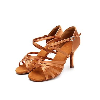 baratos Shall We® Sapatos de Dança-Mulheres Sapatos de Dança Seda Sapatos de Dança Latina Salto Salto Alto Magro Personalizável Preto / Marron / Espetáculo / Couro