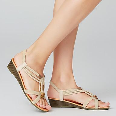 povoljno Ispod USD $12,99-Žene Sandale Niska potpetica Peep Toe Zakovica Brušena koža Uglađeni Proljeće Obala / Crn / EU40