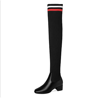 voordelige Dameslaarzen-Dames Laarzen Lage hak Vierkante Teen Polyester Over de knie laarzen Lente Zwart
