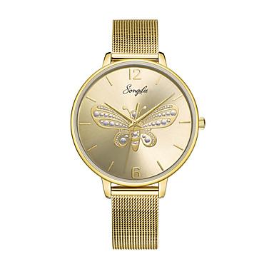 baratos Relógios Homem-Mulheres Relógios de aço Quartzo Aço Inoxidável Dourada 30 m Impermeável Relógio Casual Analógico Borboleta Fashion - Dourado Um ano Ciclo de Vida da Bateria