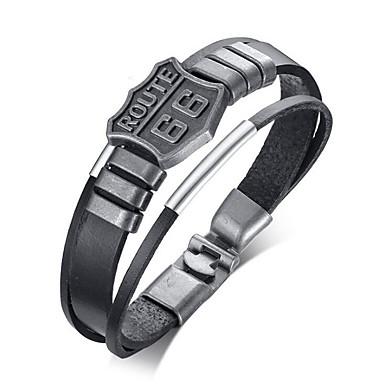 voordelige Herensieraden-Heren Lederen armbanden Klassiek Hoop Stijlvol Legering Armband sieraden Zwart Voor Dagelijks Feestdagen