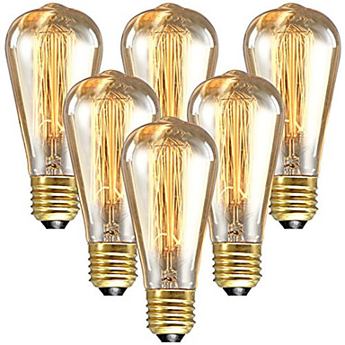 abordables Incandescent-6pcs 60 W E26 / E27 ST64 Blanc Chaud 2200-2300 k Rétro / Intensité Réglable / Décorative Ampoule incandescente Edison Vintage 220-240 V