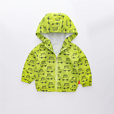 baratos Jaquetas & Casacos para Meninos-Infantil Para Meninos Activo Básico Estampado Estampa Colorida Estampado Padrão Casaco Trench Verde