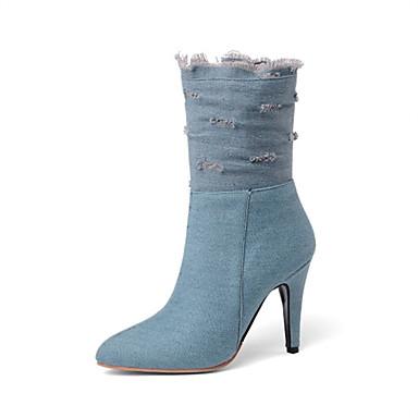 povoljno Ženske cipele-Žene Čizme Stiletto potpetica Krakova Toe Traper Čizme do pola lista Jesen zima Crn / Dark Blue / Svjetloplav