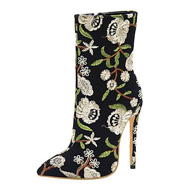 voordelige Dameslaarzen-Dames Laarzen Naaldhak Gepuntte Teen Polyester Kuitlaarzen Lente & Herfst Zwart / Blauw