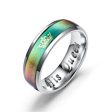 billige Motering-Par Parringer / Ring 2pcs Sølv / Regnbue Titanium Stål Sirkelformet Unikt design / Klassisk Gave / Love Kostyme smykker / Hjerte