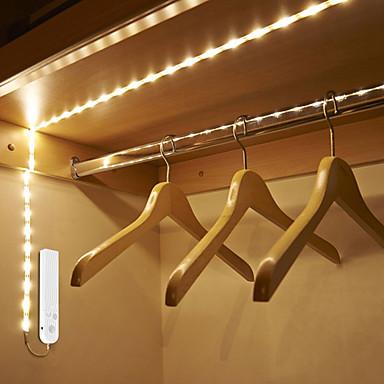 abordables Bandes Lumineuses LED-1m Bandes Lumineuses LED Flexibles / Lumières intelligentes 30 LED SMD2835 1 x capteur PIR Blanc Chaud / Blanc Froid Créatif / Décorative / Capteur de corps Batteries alimentées 1pc