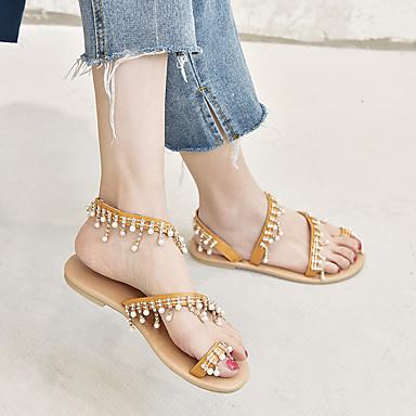 Kadın's Sandaletler Düz Taban Açık Uçlu PU Klasik Yaz Açık Kahverengi