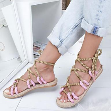 Kadın's Sandaletler Düz Taban Keten Yaz Siyah / Sarı / Mavi