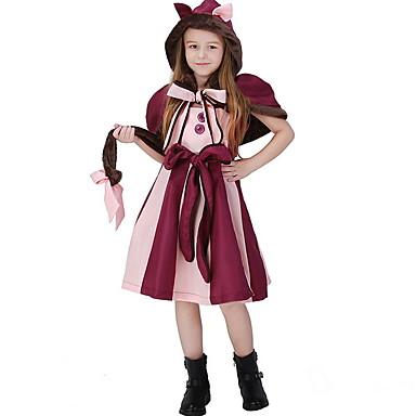 Alice in Wonderland Kostüm Genç Kız Peri Masalı Teması Cadılar Bayramı Performans Tema Partisi Kostümler Genç Kız Çocuk Dans Kıyafetleri Terylene Ayrık Renkler