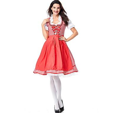 Bavyera Kostüm Kadın's International Cadılar Bayramı Performans Cosplay Kostümleri Tema Partisi Kostümler Kadın's Dans kostümleri Polyester Bağcıklı