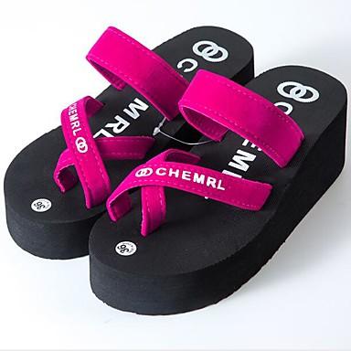 voordelige Damespantoffels & slippers-Dames Slippers & Flip-Flops Creepers Imitatieleer Zomer Zwart / Fuchsia