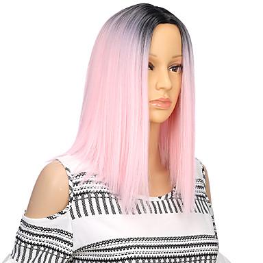 povoljno Perike i ekstenzije-Sintetičke perike Kinky Ravno Stil Sa šiškama Capless Perika Pink Pink / Grey Sintentička kosa 13 inch Žene Waterfall Ombre Pink Perika Srednja dužina