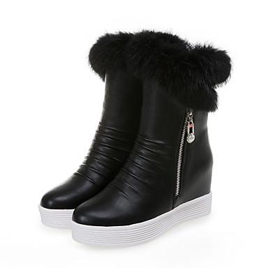 voordelige Dameslaarzen-Dames Laarzen Verborgen hiel Ronde Teen PU Kuitlaarzen Zoet / Studentikoos Herfst winter Zwart / Wit / Roze / Feesten & Uitgaan