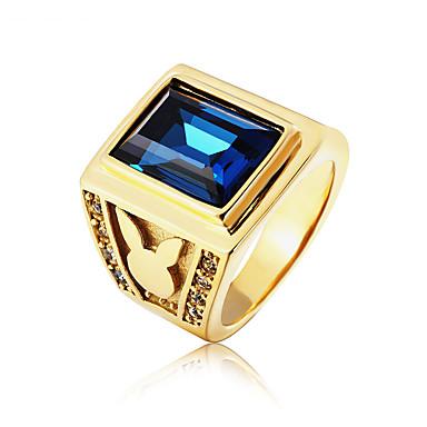 voordelige Herensieraden-Heren Ring 1pc Donkerblauw Rood Blauw Titanium Staal Glas Onregelmatig Vintage Standaard Modieus Bruiloft Feest Sieraden Vintagestijl