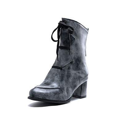 voordelige Dameslaarzen-Dames Laarzen Blokhak Ronde Teen PU Kuitlaarzen Herfst winter Geel / Licht Grijs / Wijn