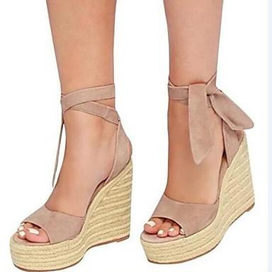 Kadın's Sandaletler Platform Burnu Açık Süet Yaz Siyah / Badem / Pembe