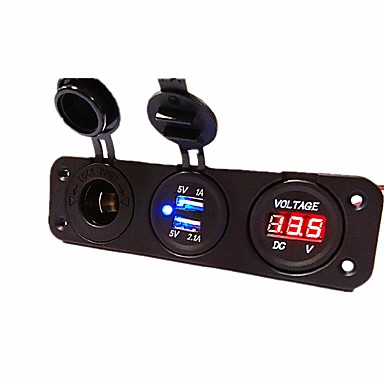 voordelige Automatisch Electronica-dc12v 3.1a autolader drie-gats paneel met dubbele usb-poort sigarettenaansteker spanningsmeter stroomadapters stopcontact