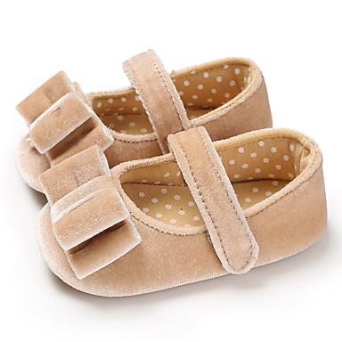 hesapli Kız Çocuk Ayakkabıları-Genç Kız Suni Kürk Düz Ayakkabılar Bebekler (0-9m) / Bebek (9 milyon 4ys) İlk Adım Gri / Drak Red / Badem Bahar / Yaz