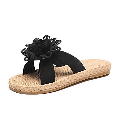 voordelige Damespantoffels & slippers-Dames Slippers & Flip-Flops Platte hak Synthetisch Zomer Wit / Zwart / Roze