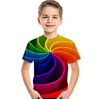 billige Overdele til drenge-Børn Baby Drenge Aktiv Basale Geometrisk Trykt mønster Farveblok Trykt mønster Kortærmet T-shirt Regnbue