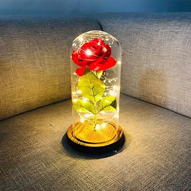 povoljno Ukrasna svjetla-1pc ljepota i zvijer ruža ruža i vodio svjetlo s pao latice u staklenoj kupoli na drveni dar dar za nju - praznik rođendan proslava vjenčanje