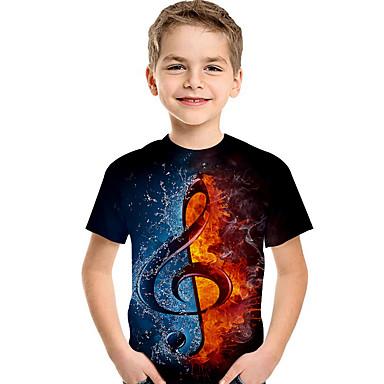 baratos Camisas para Meninos-Infantil Bébé Para Meninos Activo Básico Geométrica Estampado Estampa Colorida Estampado Manga Curta Camiseta Preto