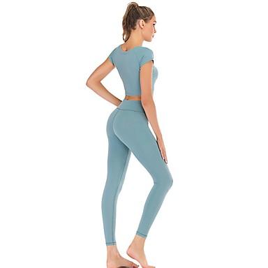 3adet Kadın's Kesilmiş Yoga kıyafeti Tozlu Mavi Spor Dalları Tek Renk Giysi Takımları Yoga Kısa Kollu Aktif Giyim Hafif Hızlı Kuruma Pochłanianie potu Popo Kaldırma Yüksek Elastikiyet
