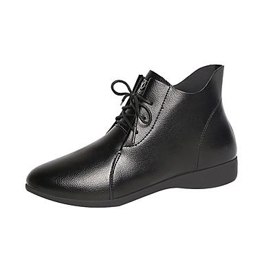 voordelige Dameslaarzen-Dames Laarzen Sleehak Ronde Teen PU Herfst winter Zwart