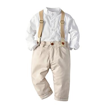 halpa Vauvojen vaatesetit Pojat-Vauva Poikien Vapaa-aika / Aktiivinen Painettu Painettu Pitkähihainen Normaali Vaatesetti Valkoinen
