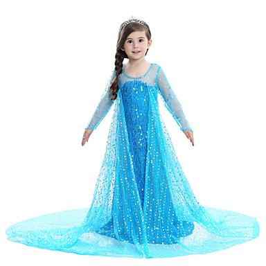 Prenses Elsa Elbiseler Genç Kız Film Kostümleri Desen Elbise Mavi / Pembe Elbise Çocukların Günü Maskeli Balo Karışık Materyal