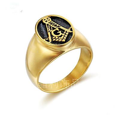 voordelige Herensieraden-Heren Ring 1pc Goud Titanium Staal Geometrische vorm Stijlvol Lahja Dagelijks Sieraden Klassiek Moed Cool
