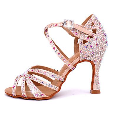 baratos Sapatos de Salsa-Mulheres Sapatos de Dança Cetim Sapatos de Dança Latina Cristal / Strass Salto Salto Carretel Personalizável Rosa claro / Espetáculo