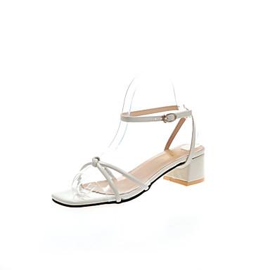 Kadın's Sandaletler Kalın Topuk Dörtgen Uçlu PU Günlük Yaz Altın / Bej