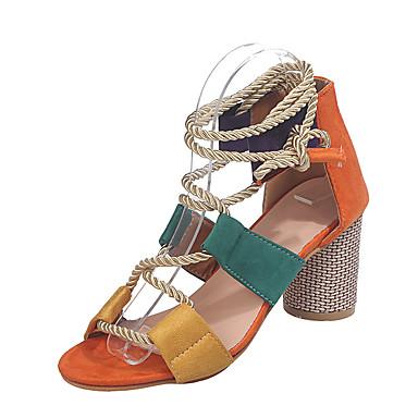 povoljno Ženske cipele-Žene Sandale Kockasta potpetica Peep Toe Kopča PU Proljeće & Jesen Zelen / Orange & Black / Obala / Color block