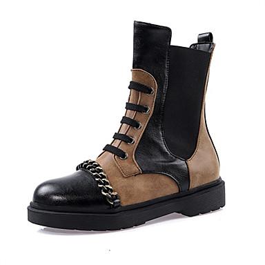 povoljno Ženske čizme-Žene Čizme Blok pete Okrugli Toe PU Čizme gležnjače / do gležnja Jesen zima Obala / Svjetlosmeđ