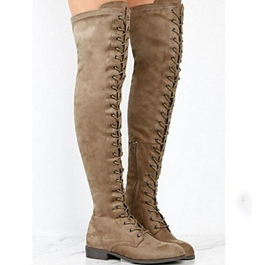 povoljno Ženske čizme-Žene Čizme Ravna potpetica Okrugli Toe Brušena koža Čizme preko koljena Zima Crn / Vojska Green / Braon