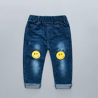 baratos Jeans Para Meninos-Infantil Para Meninos Básico Moda de Rua Estampado Algodão Jeans Azul