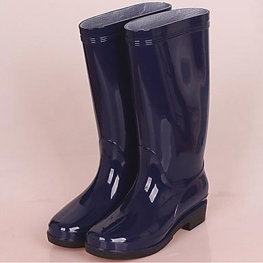 voordelige Dameslaarzen-Dames Laarzen Regenlaarzen Blokhak PVC Knielaarzen Herfst / Lente zomer Zwart / Donkerblauw / Rood