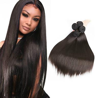 baratos Extensões de Cabelo Natural-6 pacotes Cabelo Peruviano Liso 100% Remy Hair Weave Bundles Cabelo Humano Ondulado Cabelo Bundle Um Pacote de Solução 8-28inch Côr Natural Tramas de cabelo humano Sem Cheiros Macio Legal Extensões