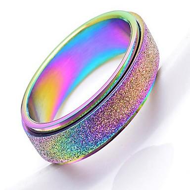 billige Motering-Herre Dame Band Ring Ring Tail Ring 1pc Sølv Regnbue Rose Gull Rustfritt Stål Titanium Stål Sirkelformet Grunnleggende Mote Gave Daglig Smykker Kul