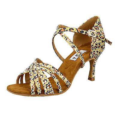 baratos Sapatos de Salsa-Mulheres Sapatos de Dança Cetim Sapatos de Dança Latina Pedrarias / Detalhes em Cristal / Purpurina Salto Salto Carretel Personalizável Leopardo / Ensaio / Prática