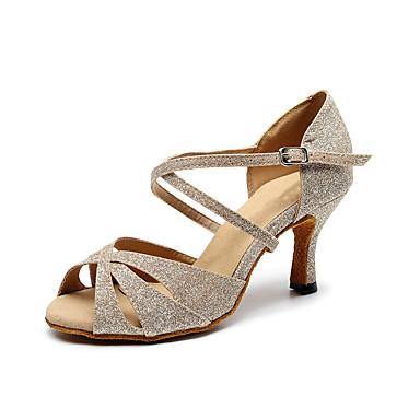 baratos Shall We® Sapatos de Dança-Mulheres Sapatos de Dança Sintéticos Sapatos de Dança Latina Presilha Salto Salto Carretel Personalizável Caqui / Espetáculo / Ensaio / Prática