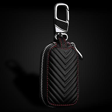 voordelige Auto-interieur accessoires-lederen auto sleutelhanger sleutelhouder tas beige zwart etui portemonnee tas