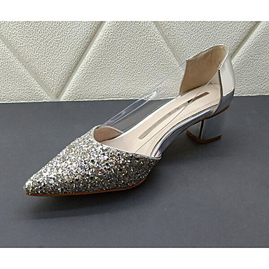voordelige Dameshakken-Dames Hoge hakken Comfort schoenen Blokhak Pailletten Schapenleer Lente Goud / Zilver