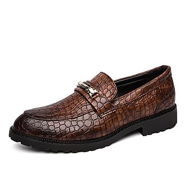 Erkek Ayakkabı PU Bahar / Sonbahar Günlük / İngiliz Mokasen & Bağcıksız Ayakkabılar Yürüyüş Parti ve Gece / Ofis ve Kariyer için Metal Siyah / Kahverengi