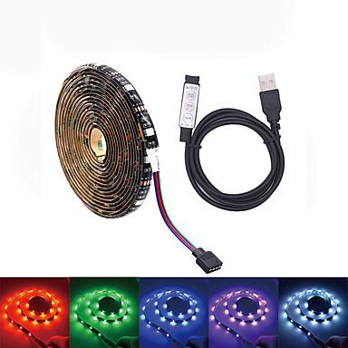 billige LED Strip Lamper-loende dc 5v vanntett usb led stripe smd5050 60leds rgb led lys fleksibel 2m mini 3key fjernkontroll for tv bakgrunnsbelysning