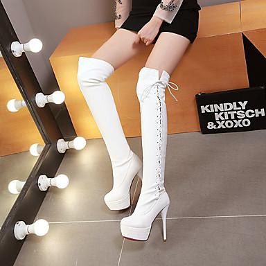 Kadın's Çizmeler Stiletto Topuk Yuvarlak Uçlu PU Bilek Üstü Botlar Vintage / İngiliz Sonbahar Kış Siyah / Beyaz / Parti ve Gece