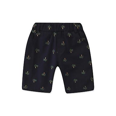 baratos Calças para Meninos-Infantil Bébé Para Meninos Activo Básico Estampado Estampado Algodão Shorts Azul Marinha