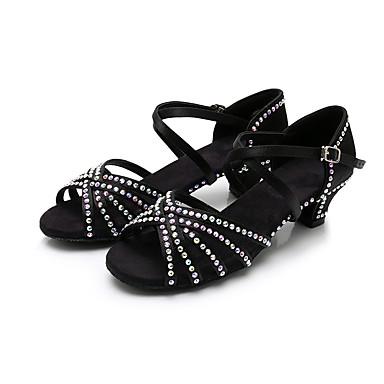 baratos Shall We® Sapatos de Dança-Mulheres Sapatos de Dança Cetim Sapatos de Dança Latina Detalhes em Cristal Salto Salto Grosso Personalizável Preto / Marron / Espetáculo / Couro